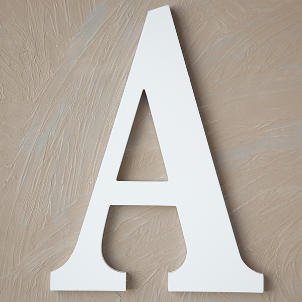wood block letter painted white 14in