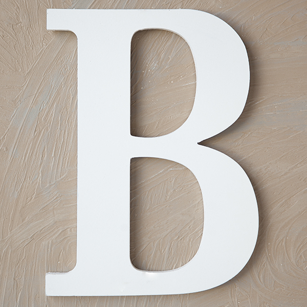 Wood Block Letter - Painted White 24in - B The Lucky Clover