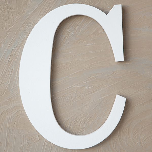 Wood Block Letter Painted White 14in C The Lucky