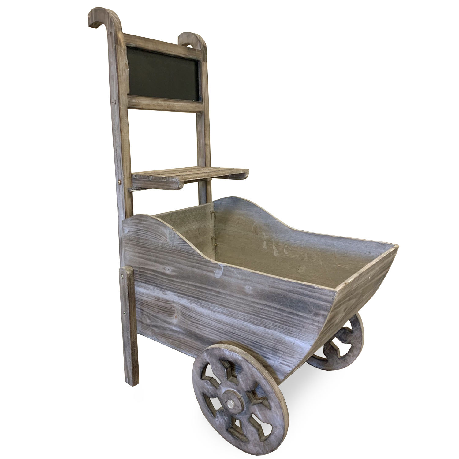 Wooden Store Display Cart with Chalkboard Antique Grey Wash