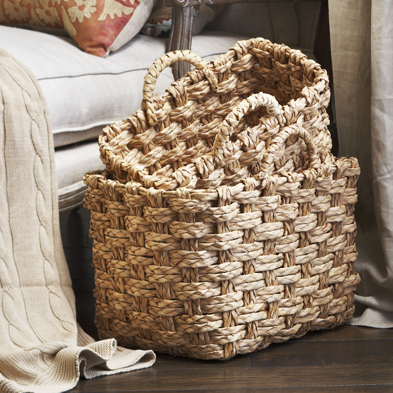 Del Mar Braided Natural Palm Utility Basket - Set of Two