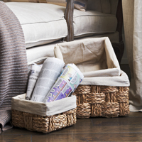 Del Mar Braided Natural Palm Basket with Liner (Set of Three)