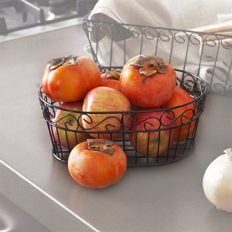 Stella Oblong Wire Tray Basket - Scroll Design 8in