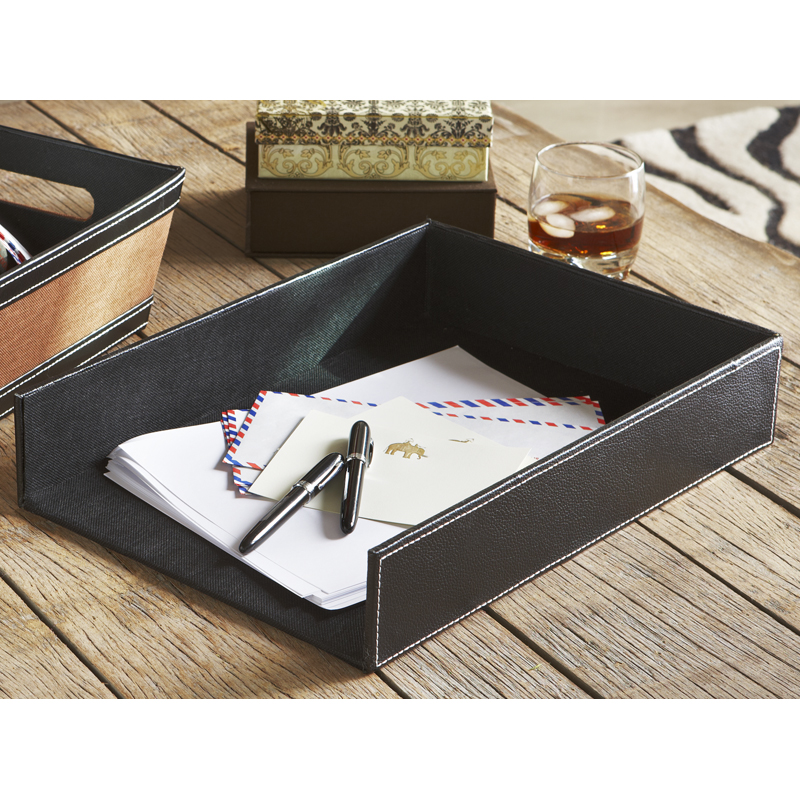 Faux Leather Document Tray 15in