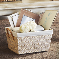Audrey Natural Rush Storage Handle Basket with Liner