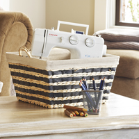 Audrey Black Natural Rush Storage Handle Basket with Liner