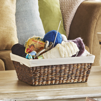 Audrey Small Mahogany Rush Storage Basket with Liner