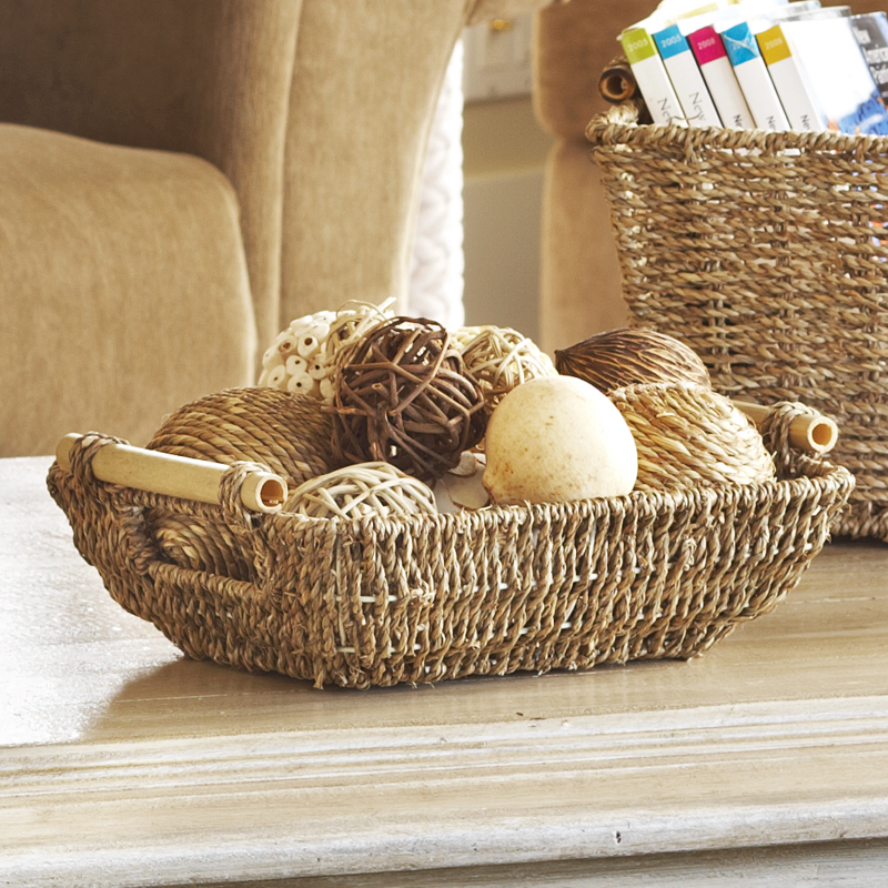 Kalani Small Sea Grass Basket with Bamboo Handle 10in