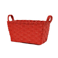 Mini Rectangular Paper Fiber Basket with Side Handles - Red